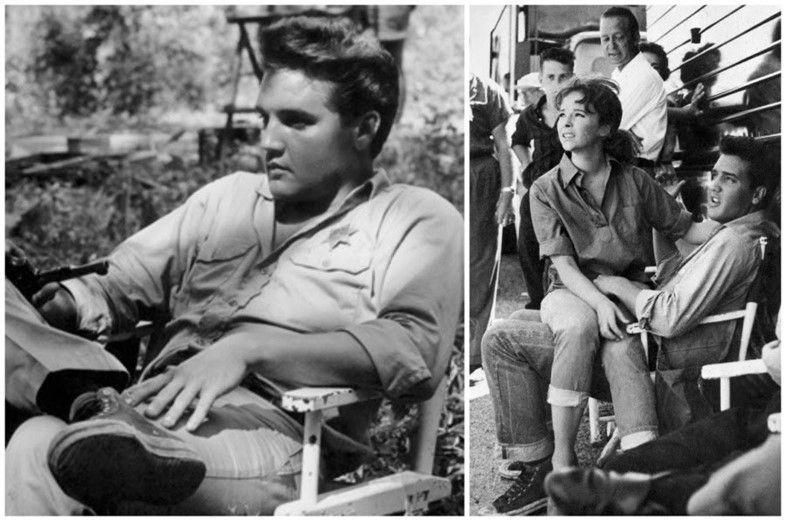 Elvis presley con unas Converse All Star en el descanso de un rodaje