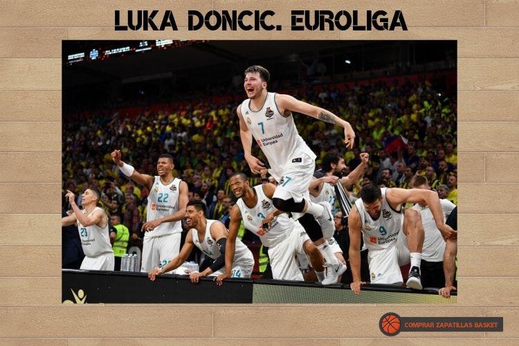 luka doncic en el banquillo del real madrid celebrando la euroliga