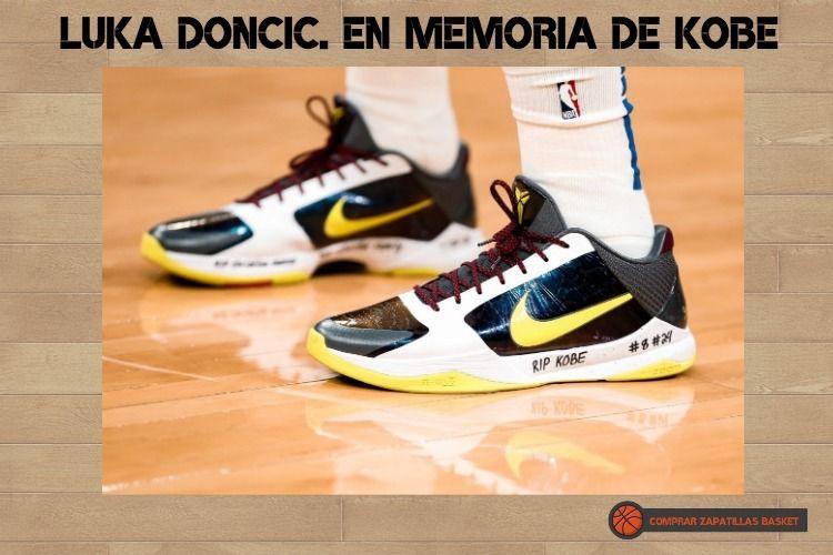 luka doncic y su homenaje a Kobe en sus zapatillas de deporte.