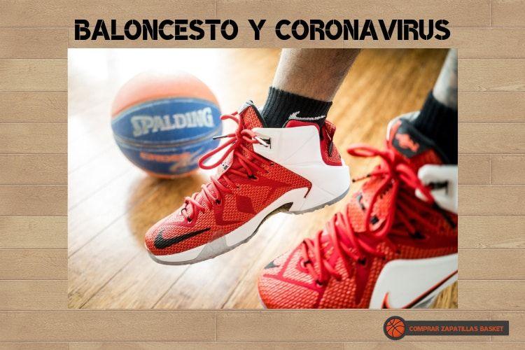 baloncesto y corona virus imagen de zapatillas de basket