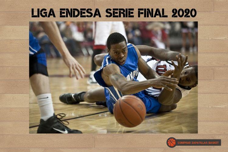 liga endesa 2020 serie final imagen de dos jugadores de baloncesto luchando por un balón