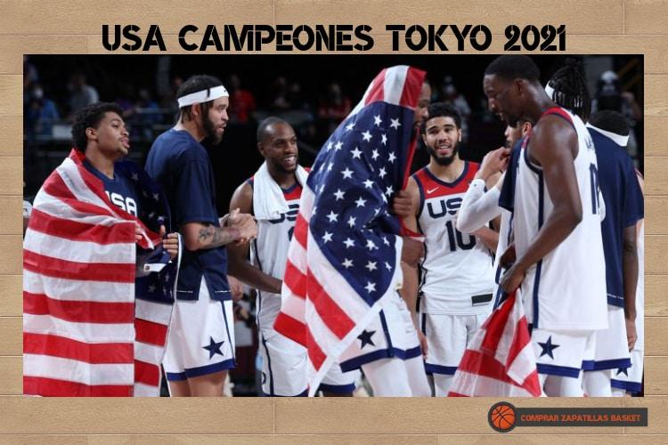 el basket continua imagen estados unidos celebrando el oro en las olimpiadas de tokyo 2021